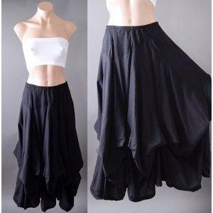 Black Victorian Gothic Steampunk Gypsy Long Skirt